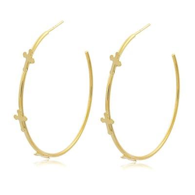 Three Crosses Hoop Earrings
