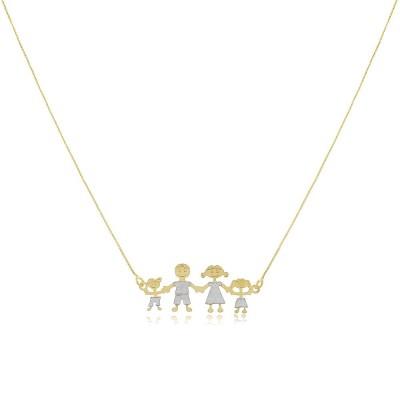 Colar Happy Family, colar curto banhado a ouro 18 quilates, com vários configurações de família.
