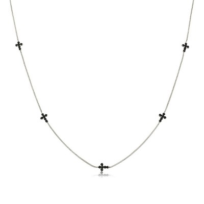 Collar Cruces Zirconia Negra