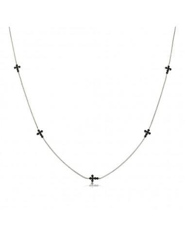 Black Zirconia Crosses Necklace