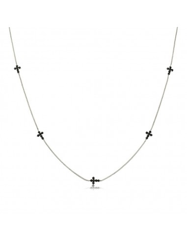 Collar Cruces Zirconia Negra