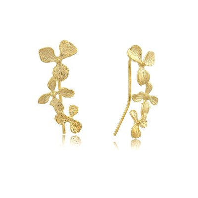 Trio Flower Ear Climbers, 18 karat gold plated ear climbers