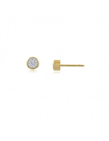Pendientes Punto de Luz con base chapada en oro 18 quilates y circonita blanca redonda