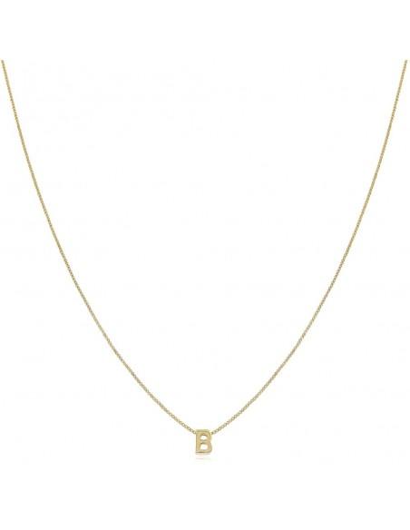 Collar Initials, collar corto con letra y cadena veneciana chapada en oro de 18 quilates