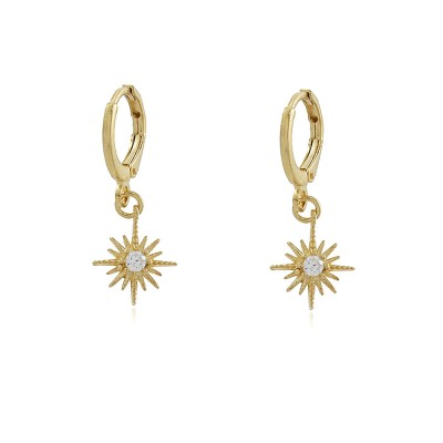 Zirconia Star Hoop Earrings