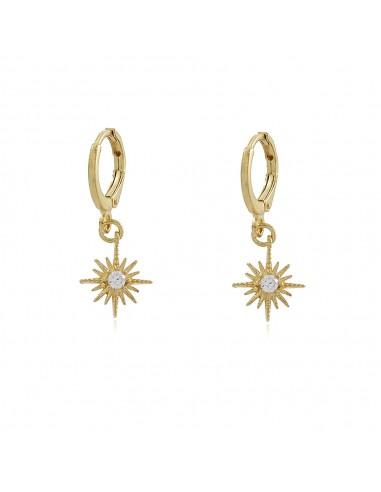 Zirconia Star Hoop Earrings