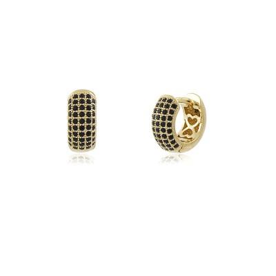Mignon Noir Mini Hoops Earrings, Gold Plated Hoop Earrings with Black Zircons