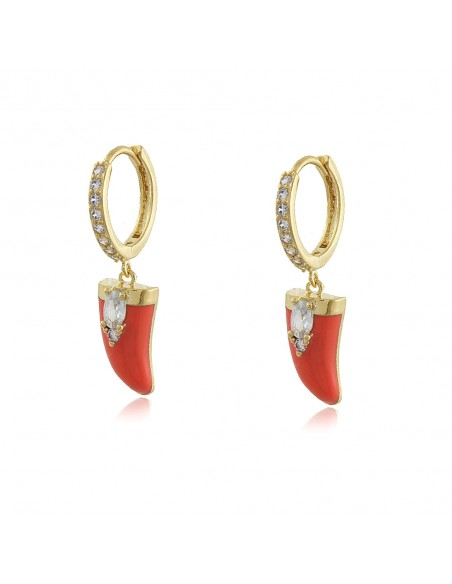 Chilli pepper hoop earrings in coral, black and turquoise colours