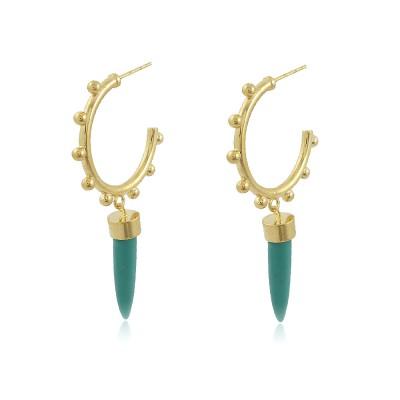 Blue Pepper Hoop Earrings