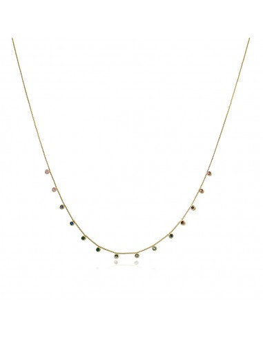 Colours Short Necklace 18K white or yellow gold plated and coloured zirconias