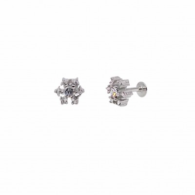 Surgical steel piercing earring with white zirconias