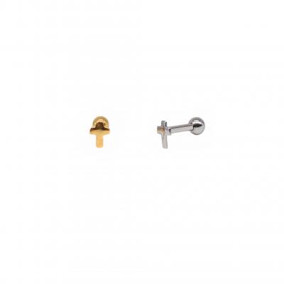 Piercing Cross earring in surgical steel