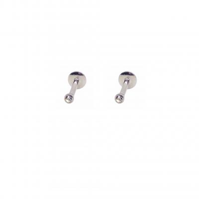 Brinco Piccolo Piercing em aço inoxidável cirúrgico e mini zircônia branca