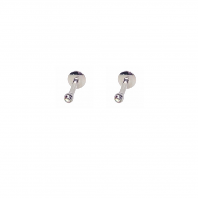 Pendiente Piercing Piccolo en acero quirúrgico y mini circonita blanca