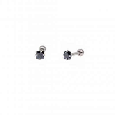 Brinco piercing Noir em aço cirúrgico e zircônia quadrada preta
