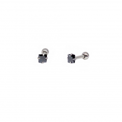 Piercing Noir earring in surgical steel and black square zirconia