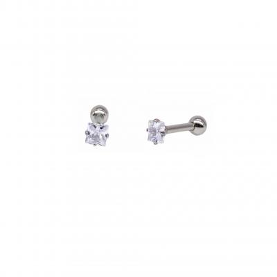 Brinco Piercing de orelha em aço inoxidável com zircônia branca