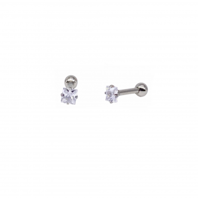 Surgical steel ear piercing with a white zirconia
