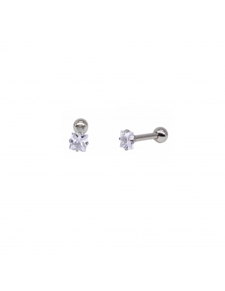 Piercing de oreja en acero quirúrgico con una circonita blanca