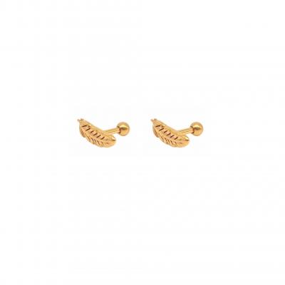 Brinco piercing de penas em aço cirúrgico banhado a ouro