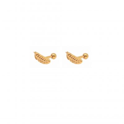 Feather Piercing Earring in gold-plated surgical steel