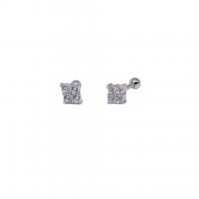 Piercing Isa earring in surgical steel and white zirconias