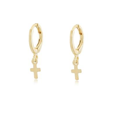 Mini Cross Hoop Earrings