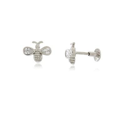 925 Sterling Silver Bee Piercing Earring