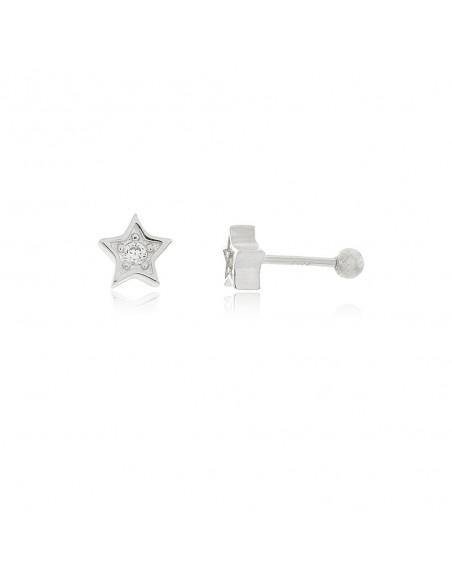 Pendiente Piercing Estrella Circonitas en plata 925