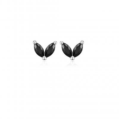 Silver Mini Black Flower Earrings