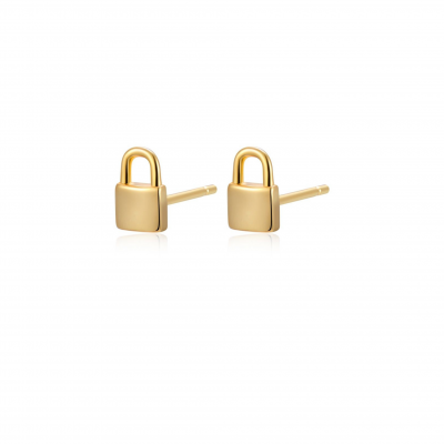 Brinco Mini Cadeado Banhado a Ouro