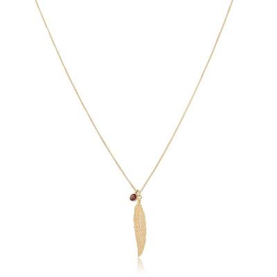 Collar Pluma y Mineral, collar corto chapado en oro de 18 quilates