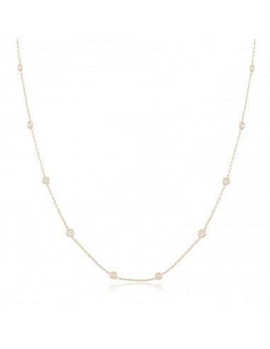 Collar Tati, gargantilla chapada en oro blanco o amarilla con circonitas blancas
