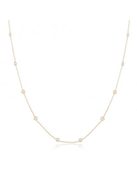 Colar Tati, gargantilha banhada a ouro branco ou amarelo com zirconias brancas