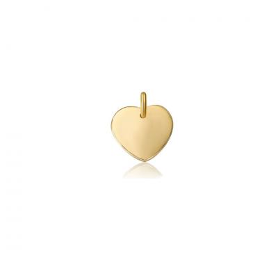 Charm corazón en plata de ley chapado en oro, para personalizar tu joya.