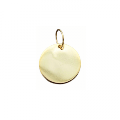 Round plate charm or pendant in gold-plated sterling silver to personalize your jewellery