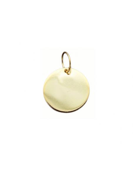 Charm o colgante placa redonda en plata de ley chapada en oro para personalizar tus joyas