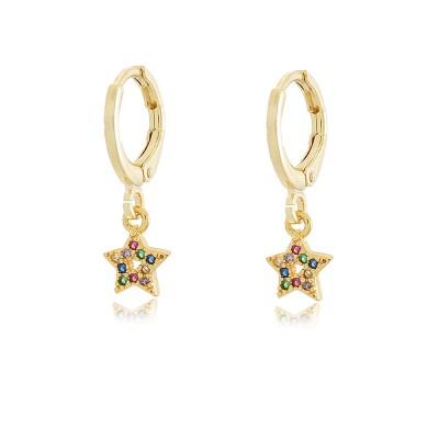 Shiny Star Hoop Earrings