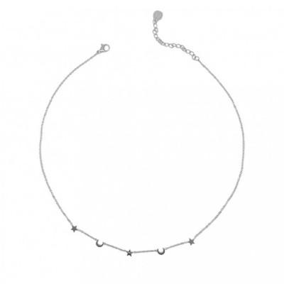 Moon & Star Steel Necklace