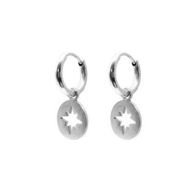 Polar Star Steel Hoop Earrings